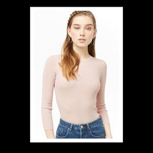 FOREVER 21 NWT S LIGHT PINK RIBBED SWEATER TOP